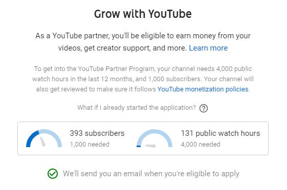 Grow with youtube