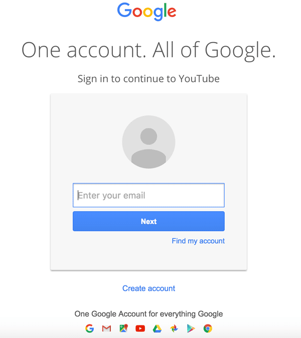 Acquisition of Gmail and YouTube account