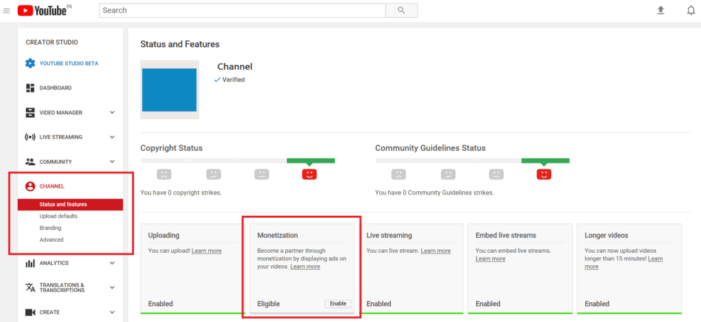 Become a partner of YouTube