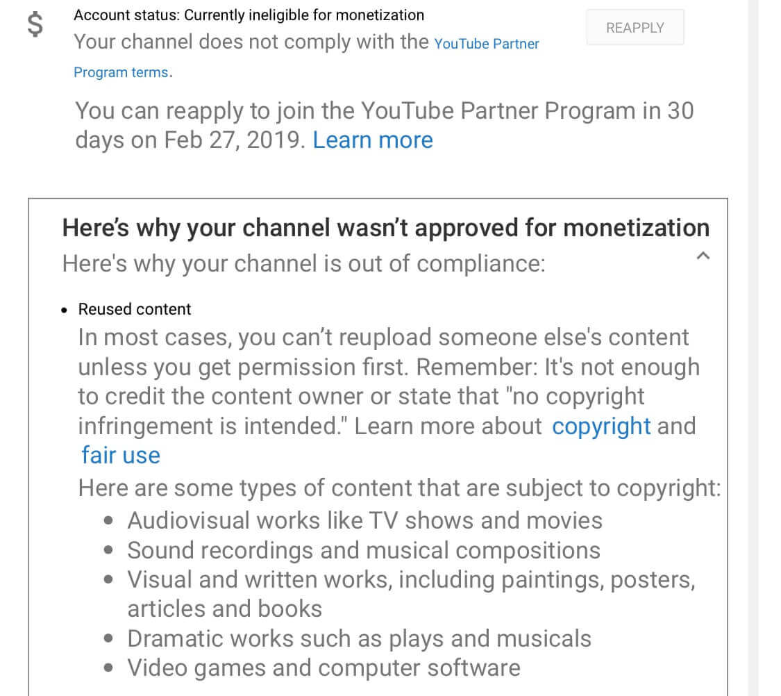 The content reuse policy of YouTube