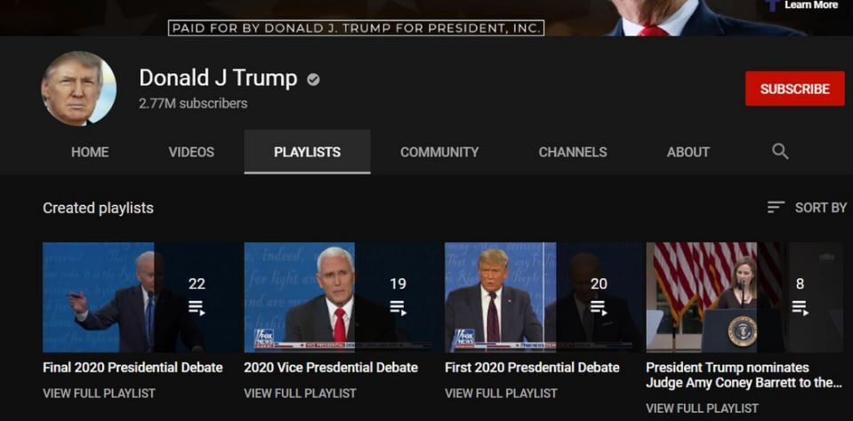 President Donald Trump's channel