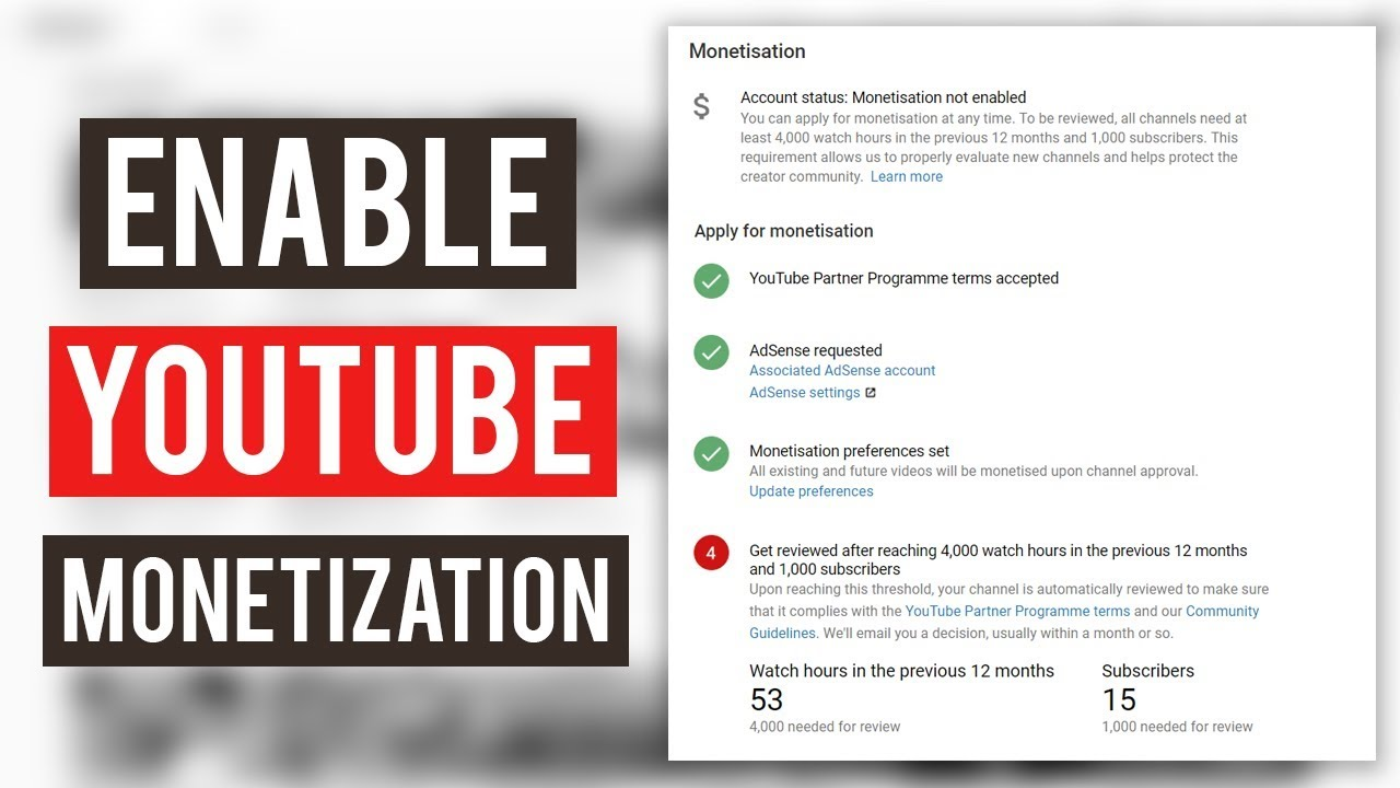 youtube account with monetization