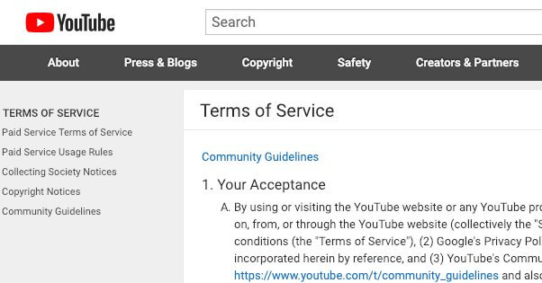 Youtube's-terms-of-service